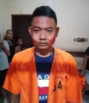 Pelaku Pembunuhan SPG Mobil, Bagus Putu Wijaya (33) saat di Mapolresta Denpasar, Senin (12/08/2019) siang. Foto: Lintasnusanews.com/ Widodo