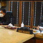 Walikota Denpasar, IB Rai Dharmawijaya Mantra dan Wakil Walikota, IGN Jaya Negara saat mengikuti sidang pembahasan ranperda secara virtual di Graha Sewaka Dharma. DPRD Kota Denpasar kompak setujui Ranperda, Jumat (17/07/2020). Foto: Lintasnusanews.com/Dok Humas Pemkot Denpasar