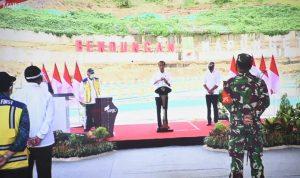 Presiden Jokowi meresmikan Bendungan Napun Gete di Kec.Waiblama, Kab.Sikka - NTT. Foto: Lintasnusanews.com/Karel Pandu