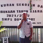 Ketua Yayasan More Manggo, Fransiskus Laka tengah sambutan saat upacara syukuran pembukaan SMPS Dona Mart di Kecamatan Lio Timur Kabupaten Ende NTT, Rabu (28/07/2021). Foto: Lintasnusanews.com/Karel Pandu