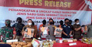Polresta Banjarmasin Kalsel, saat press release peredaran narkotika di Mapolresta Banjarmasin. Foto: Lintasnusanews.com/Rahmat